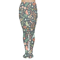 Vintage Flowers And Birds Pattern Women s Tights