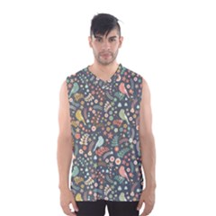 Vintage Flowers And Birds Pattern Men s Basketball Tank Top