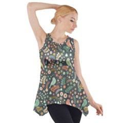 Vintage Flowers And Birds Pattern Side Drop Tank Tunic