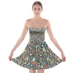 Vintage Flowers And Birds Pattern Strapless Dresses