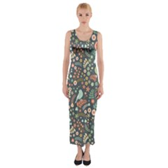 Vintage Flowers And Birds Pattern Fitted Maxi Dress