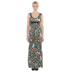 Vintage Flowers And Birds Pattern Maxi Thigh Split Dress