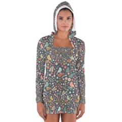 Vintage Flowers And Birds Pattern Women s Long Sleeve Hooded T Shirt