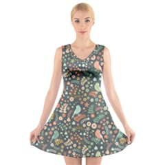 Vintage Flowers And Birds Pattern V Neck Sleeveless Skater Dress
