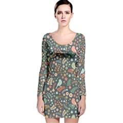 Vintage Flowers And Birds Pattern Long Sleeve Velvet Bodycon Dress