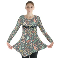 Vintage Flowers And Birds Pattern Long Sleeve Tunic