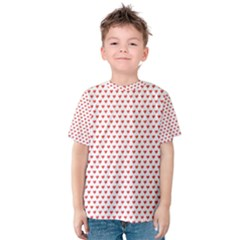 Red Small Hearts Pattern Kid s Cotton Tee