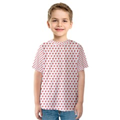 Red Small Hearts Pattern Kid s Sport Mesh Tee