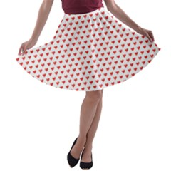 Red Small Hearts Pattern A Line Skater Skirt