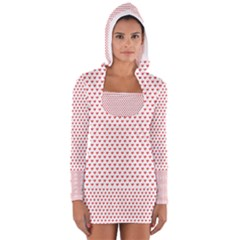 Red Small Hearts Pattern Women s Long Sleeve Hooded T Shirt