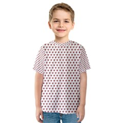 Ruby Red Small Hearts Pattern Kid s Sport Mesh Tee
