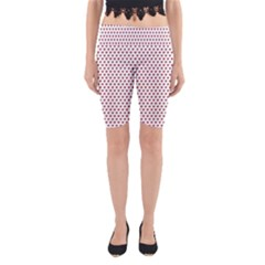 Ruby Red Small Hearts Pattern Yoga Cropped Leggings