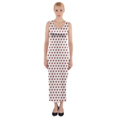 Ruby Red Small Hearts Pattern Fitted Maxi Dress