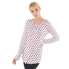 Ruby Red Small Hearts Pattern Women s Tie Up Tee