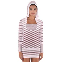 Ruby Red Small Hearts Pattern Women s Long Sleeve Hooded T-shirt