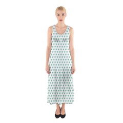 Sea Green Small Hearts Pattern Sleeveless Maxi Dress
