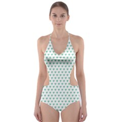 Sea Green Small Hearts Pattern Cut Out One Piece Swimsuit
