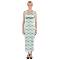 Sea Green Small Hearts Pattern Fitted Maxi Dress