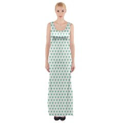 Sea Green Small Hearts Pattern Maxi Thigh Split Dress