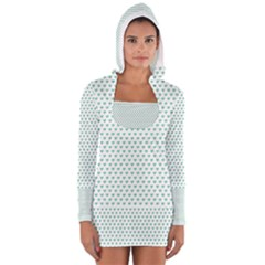Sea Green Small Hearts Pattern Women s Long Sleeve Hooded T-shirt