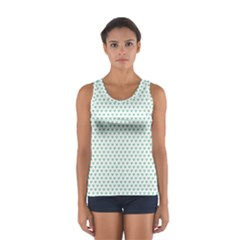 Sea Green Small Hearts Pattern Tops
