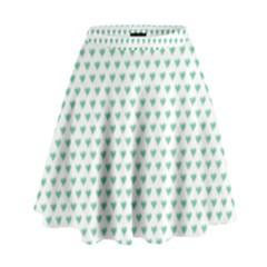 Sea Green Small Hearts Pattern High Waist Skirt