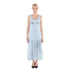 Sky Blue Small Hearts Pattern Sleeveless Maxi Dress
