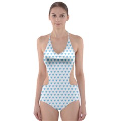 Sky Blue Small Hearts Pattern Cut-Out One Piece Swimsuit
