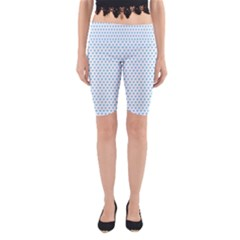 Sky Blue Small Hearts Pattern Yoga Cropped Leggings