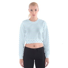 Sky Blue Small Hearts Pattern Women s Cropped Sweatshirt