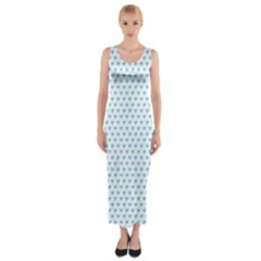 Sky Blue Small Hearts Pattern Fitted Maxi Dress