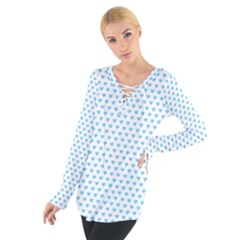 Sky Blue Small Hearts Pattern Women s Tie Up Tee