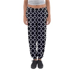 Black & White quatrefoil pattern Women s Jogger Sweatpants