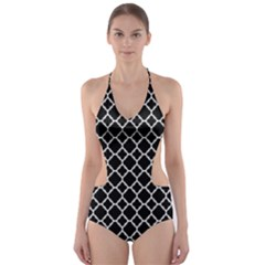 Black White Quatrefoil Classic Pattern Cut-Out One Piece Swimsuit