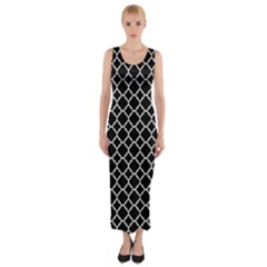 Black White Quatrefoil Classic Pattern Fitted Maxi Dress