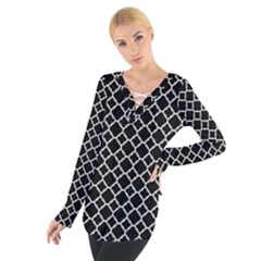 Black White Quatrefoil Classic Pattern Women s Tie Up Tee
