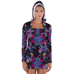 Stylized Geometric Floral Ornate Women s Long Sleeve Hooded T Shirt