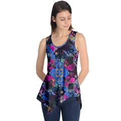 Stylized Geometric Floral Ornate Sleeveless Tunic