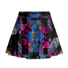 Stylized Geometric Floral Ornate Mini Flare Skirt