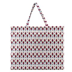 Geometric retro patterns Zipper Large Tote Bag
