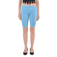 Bright Blue Quatrefoil Pattern Yoga Cropped Leggings