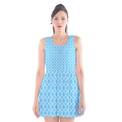 Bright blue quatrefoil pattern Scoop Neck Skater Dress
