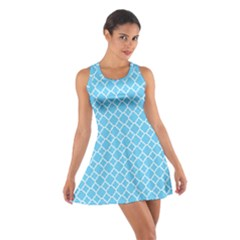 Bright blue quatrefoil pattern Cotton Racerback Dress