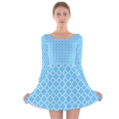 Bright blue quatrefoil pattern Long Sleeve Velvet Skater Dress