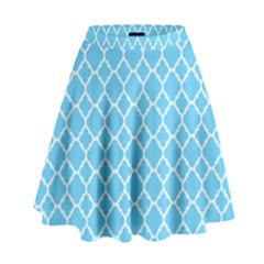 Bright blue quatrefoil pattern High Waist Skirt