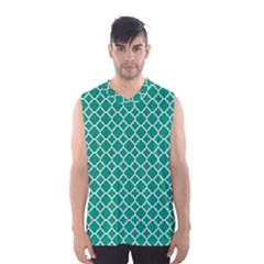 Emerald Green Quatrefoil Pattern Men s Basketball Tank Top