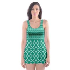 Emerald green quatrefoil pattern Skater Dress Swimsuit