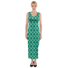 Emerald Green Quatrefoil Pattern Fitted Maxi Dress