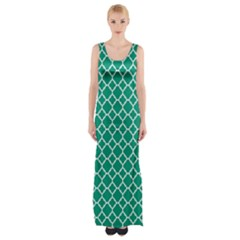 Emerald green quatrefoil pattern Maxi Thigh Split Dress
