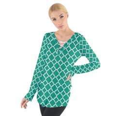 Emerald Green Quatrefoil Pattern Women s Tie Up Tee